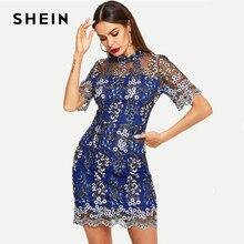 Шеин, синее контрастное Сетчатое платье с цветочным рисунком, короткий рукав, стоячий воротник, тонкий выход, осень, современные женские элегантные вечерние платья