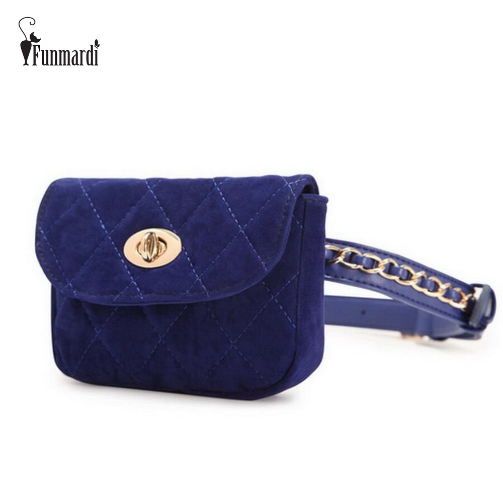 FUNMARDI New Vintage Women Waist Packs Casual Fashion Corduroy Waist Packs Simple Design Bags Trendy Luxury Bags WLAM0068