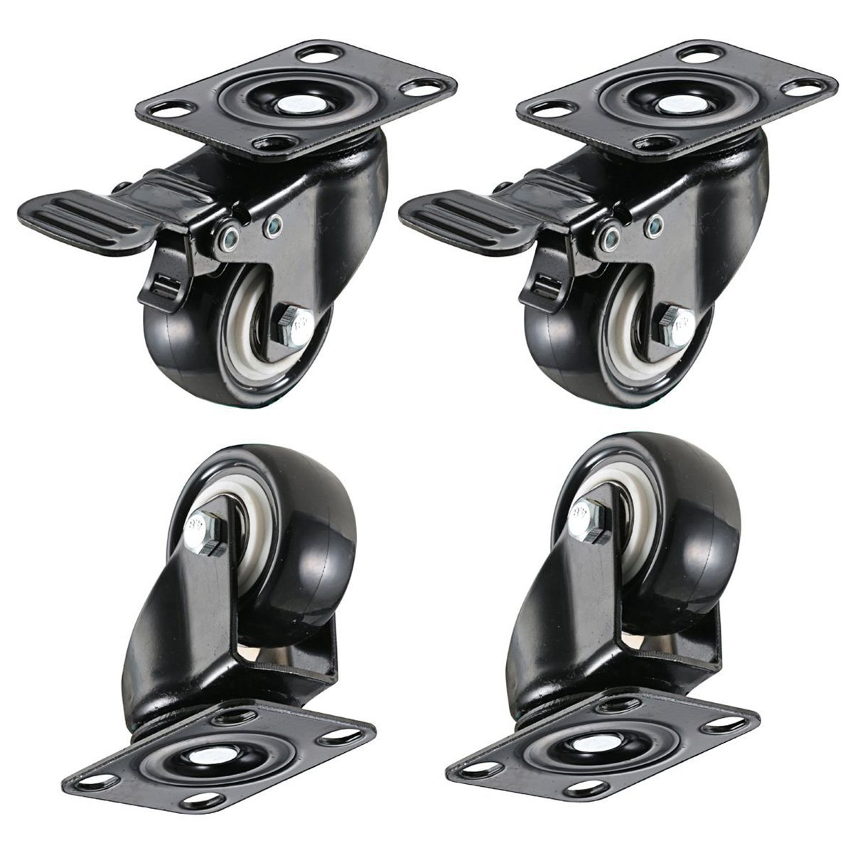 4 Pack 2in Heavy Duty Caster Wheels Polyurethane PU Swivel Casters with 360 Degree Top Plate 220lb Total Capacity for Set of 4 ( title=