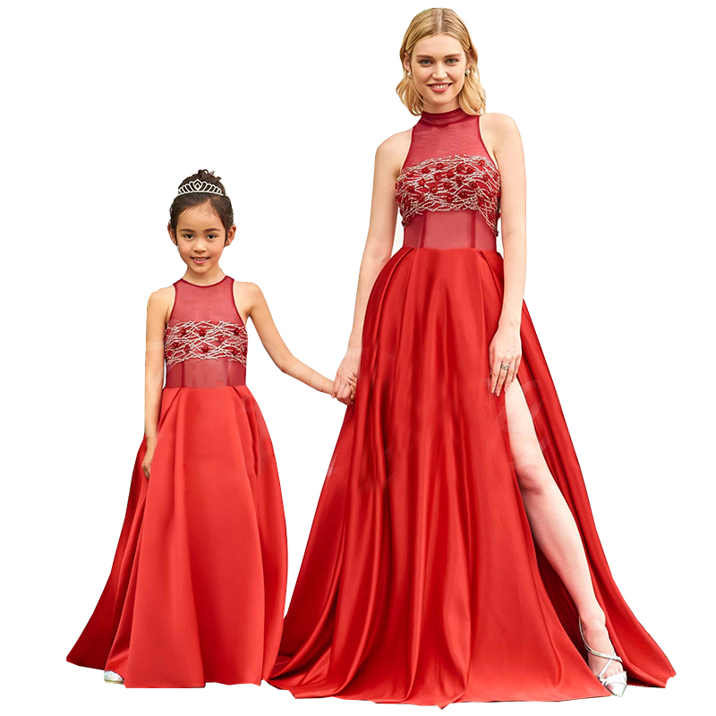f0ab8fbf96628 Girls Birthday Party Princess Dress Ball Gown Mom and Daughter Dress Mother  Daughter Wedding Dresses Family Matching Outfits Red
