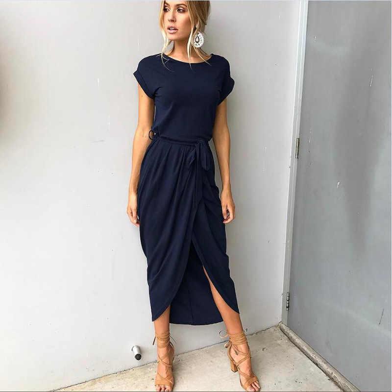 9c7cfc410d3f9 2019 New Spring Fashion Elegant Dress Plus Size Women Clothing Casual Short  Sleeve O-Neck