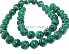 Wholesale Round 10MM Round Green Malachite beads Malachite Gem Loose Beads Full Strand 15inch - Free Shipping