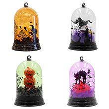 Unique Small Night Light Halloween Pumpkin Witch Cat Pattern Discoloration Miniatures Decor