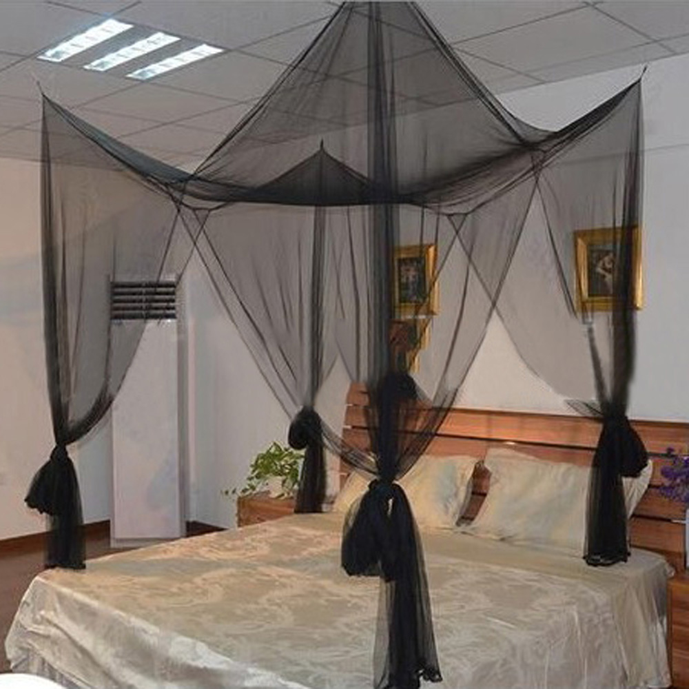 High Quality 4 Corner Post Bed Canopy Mosquito Net Full Queen King Size Netting Black Bedding
