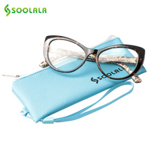 ab6a1ff6834 SOOLALA Cat Eye Reading Glasses Women Men Floral Printed Prescription  Reading Glasses +0.5 0.75 1.0