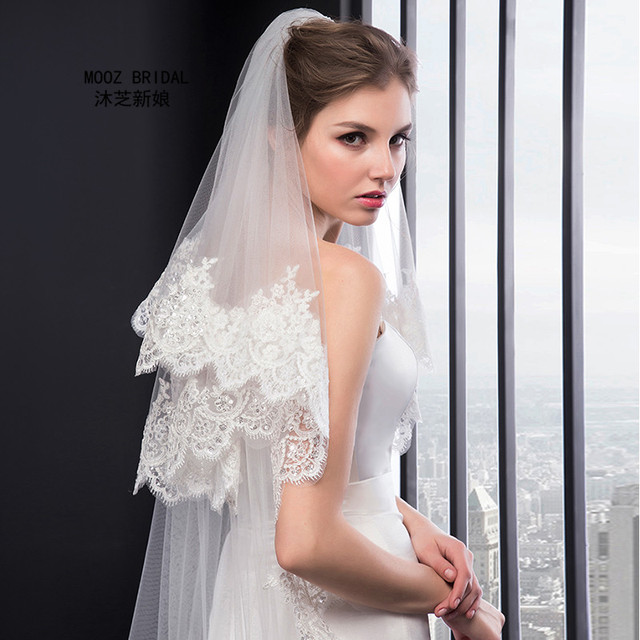 Real Images Bridal Veils Fashionable Lace Edge 2T Wedding Accessories Sequins Decoration New Arrival in Stock Wedding Veil 2017