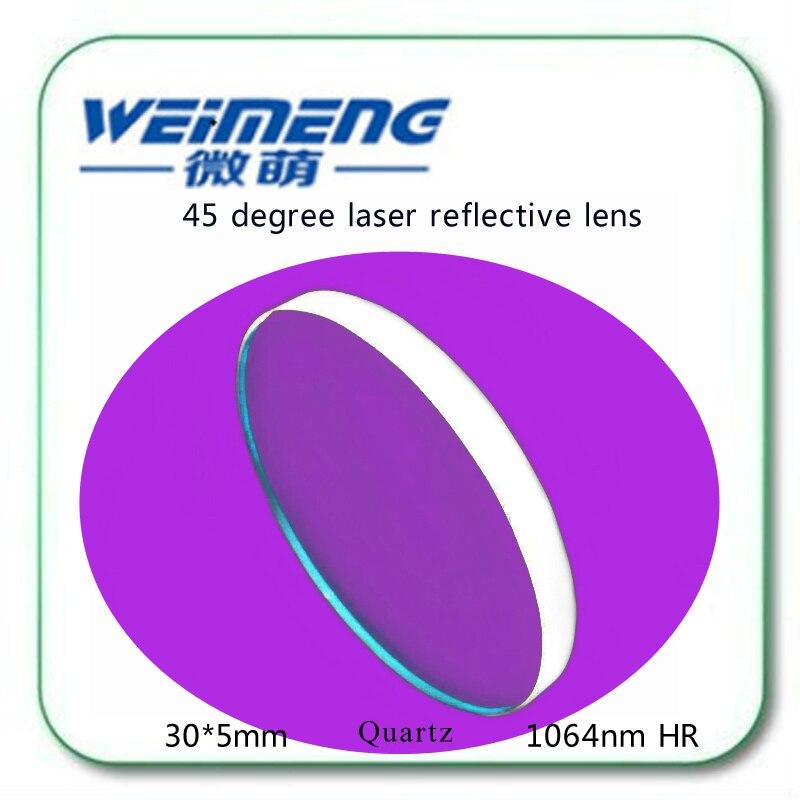 Suministro de fábrica de Weimeng 45 grados 30*5mm material de cuarzo 1064nm HR circular máquina de marcado láser lente reflector para óptica