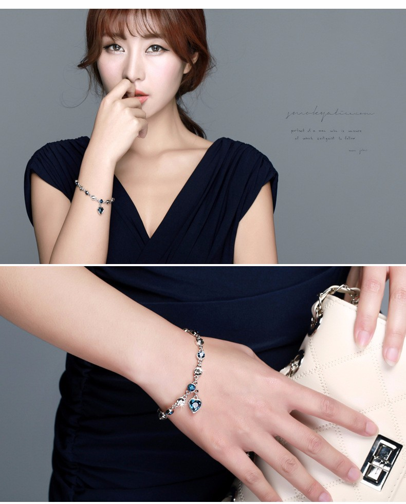 LYIYUNQ Fashion Bracelet Hot Wedding Female Heart Crystal Bracelets For Women Luxury Temperament Silver-Color Fine Jewelry Gift 6
