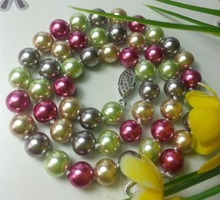 2015 8mm Color Ocean Sea Shell Pearl Necklace Pearl Jewelry Rope Chain Pearl Beads Natural Stone 18inch(Minimum Order1) Chains B
