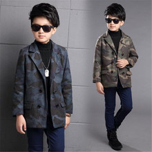 2017 Double Breasted Kids Boys Wool Coat British Style Children Winter Clothes Turn-Down Collar 6-15T Boy Wool Jacket Toddlers