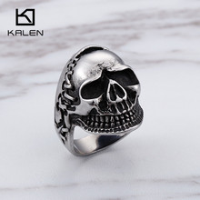 Gothic Skull Rings For Men Size 8-12 Stainless Steel Punk Skeleton Finger Rings Wholesale Biker Rocker Jewelry wholesale high quality mens punk 316l stainless steel pentagram star rings for men biker finger rings rock jewelry us size 9 12