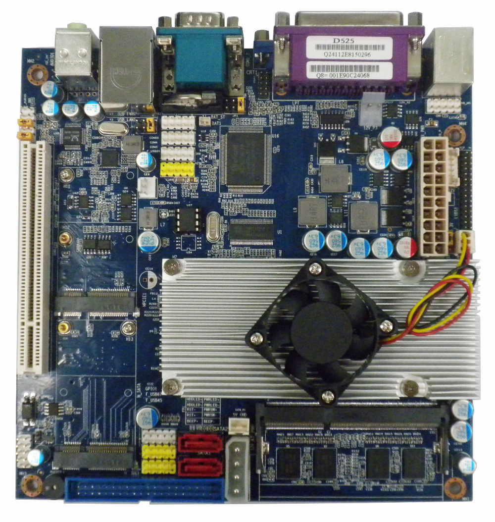Pico-ITX Motherboard  atom top525 -N550 CPU onboard DDR3 Mainboard  for School System mini itx motherboard nm70 chipset celeron 1037u cpu mainboard with onboard 2gb ram 2 coms