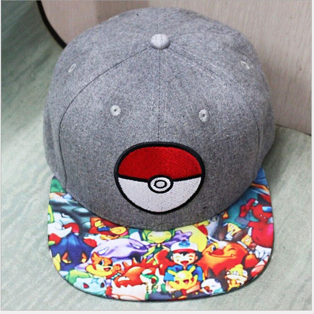 Prix pour Anime Poche Monstre Pokeball Cosplay Cap gris de bande dessinée Pikachu dames robe Pokemon aller Chapeau charme Costume Accessoires casquette de baseball