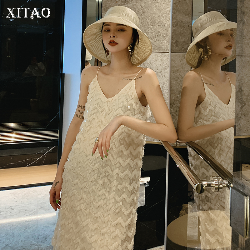 XITAO New Women Korea Fashion 2019 Summer V neck Sleeveless Loose Dress Female Lace Solid