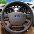 Mão-costurado Preto Tampa Da Roda de Direcção Do Carro de Couro para para Ford Focus 2 2005-2011