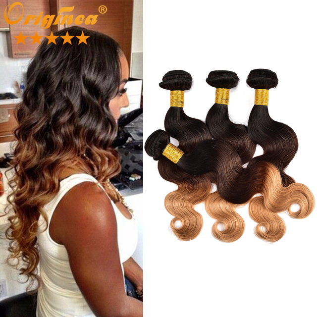 b85fc123fa7 US $96.96 |7A Ombre Peruvian Virgin Human Hair Weave 4 Bundles Bleached  Weaving Hair 100g 3 Tone 1B 33 27 Ombre Peruvian Virgin Body Wave on ...