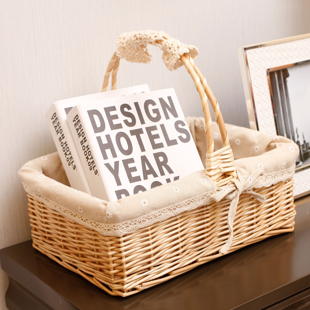 Willow Wicker Storage Basket With Liner For Home: Wicker Storage Basket Outdoor Picnic Basket Fruit Basket