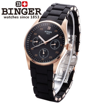 Hot Sale New Design Binger Watch Geneva Fashion Exaggerated Love Couple Wristwatch Women Quartz Black Watches Rose Gold kingsky new fashion small women watches famous design quartz watch black pu leather strap wristwatch