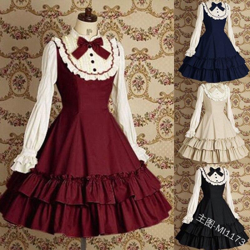Sweet Girls Vintage Slim Cotton Dress Lolita Women Court Long Sleeves Bow Tie Ruffle Layered Dress Princess Costume For Ladies