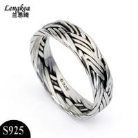 Gratis verzending, mannelijke 925 zilveren sieraden zilveren ring gebreide thai zilveren mannen pinky ring vinger ring gepersonaliseerde accessoires, gift