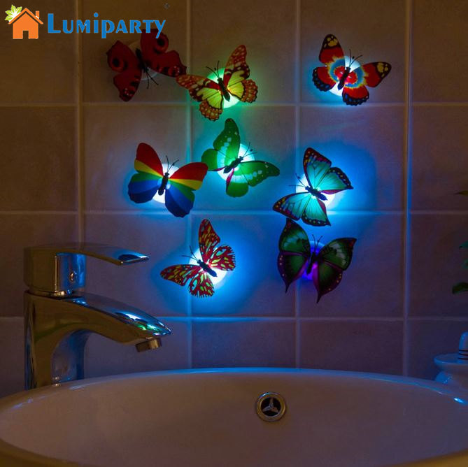 LumiParty 5pcs Fashion Flashing Colorful Butterfly night light baby bedside lights Indoor lighting decorations Party Nightlights