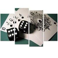 Da Parede Da lona Art HD Impressão Pintura Pictures 4 Painel Modular Quadro Poster Decoração Home Moderna Sala de Poker E Dados