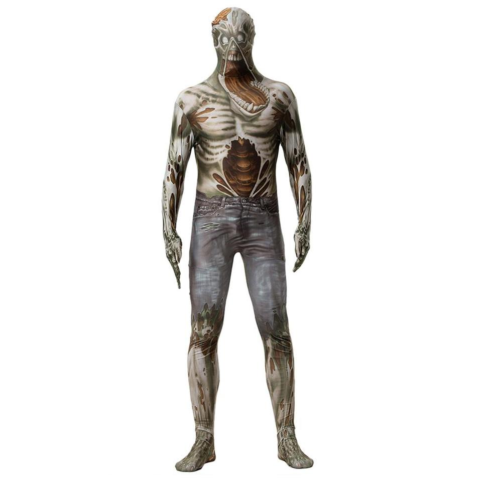 Halloween Adult Full Body Zentai Suit Lycra Spandex Horror Zombie Costume Scary Skull Game Jumpsuit Men Party Funny Onesies