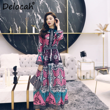 Delocah Women Spring Summer Dress Runway Fashion Designer Flare Sleeve Gorgeous Lace Vintage Printed A-Line Mid-Calf Dresses