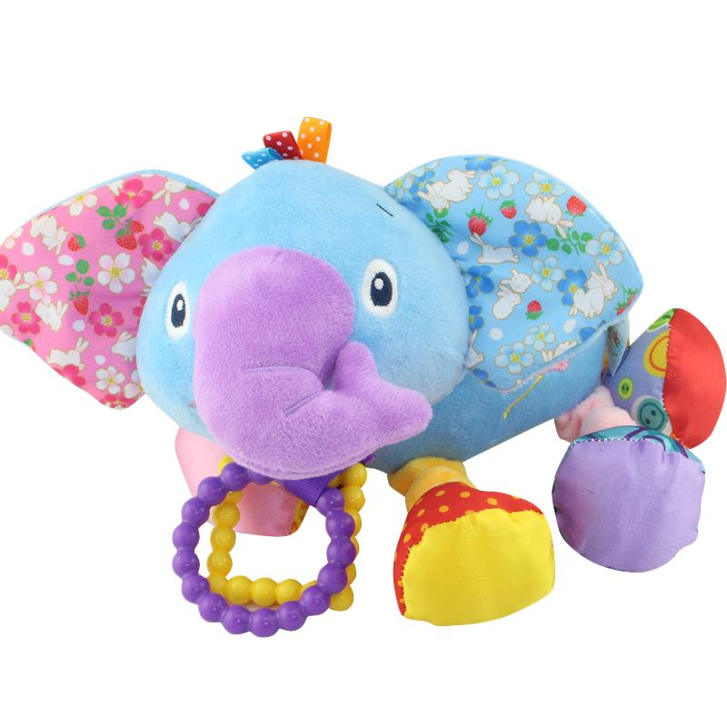 Plush Toys Cute Elephant Animal Baby Dolls Soft Baby Kids Bed Stroller Hanging Rattle Toys for Infant Stroller