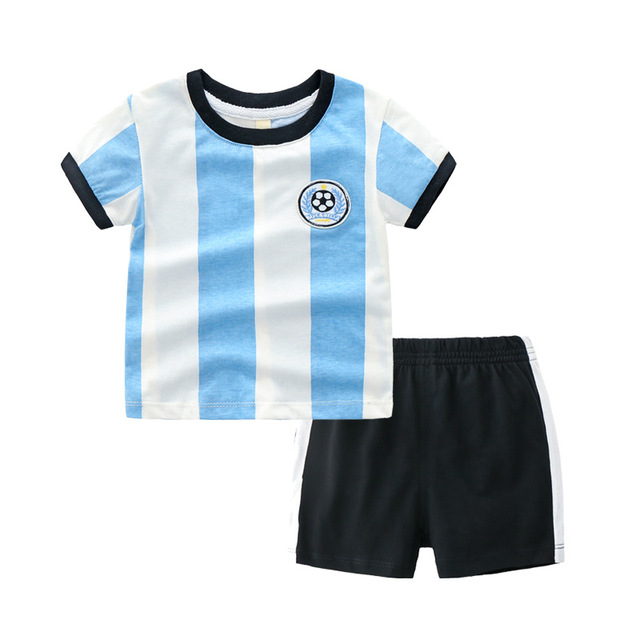 4485d359e24 argentina france brazil soccer jersey kids clothes for boy trending  products 2018 boy stripe t-shirts shorts summer suit