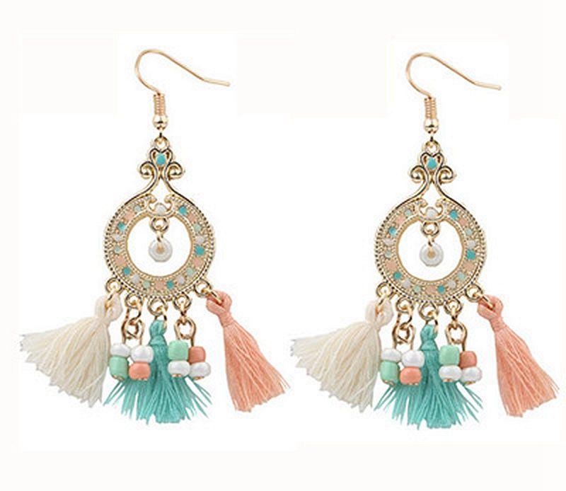 he clouds jewelry co., LTD 2016 fashion Bohemia beaded tassel earrings temperament women's fashion jewelry wholesale