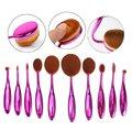 10 Unids Oval Pinceles de Maquillaje Set cepillo de Dientes Cara Crema Herramienta Cosmética Fundación Líquido Rubor En Polvo + 1 Cepillo Limpiador