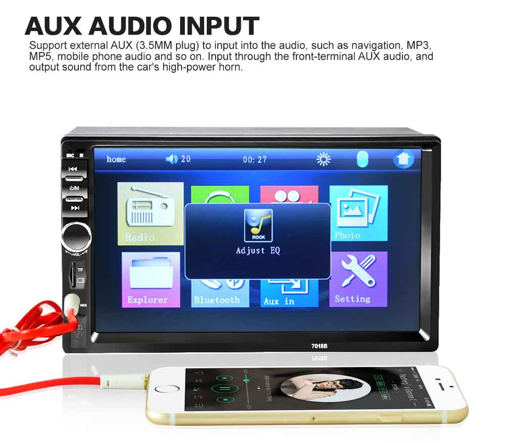 Power Kabel Fernbedienung Professioneller Verkauf 7 Zoll 7060b Hd Bluetooth Presse Bildschirm 2 Din Radio Fm Aux Usb Sd Mp5 Player