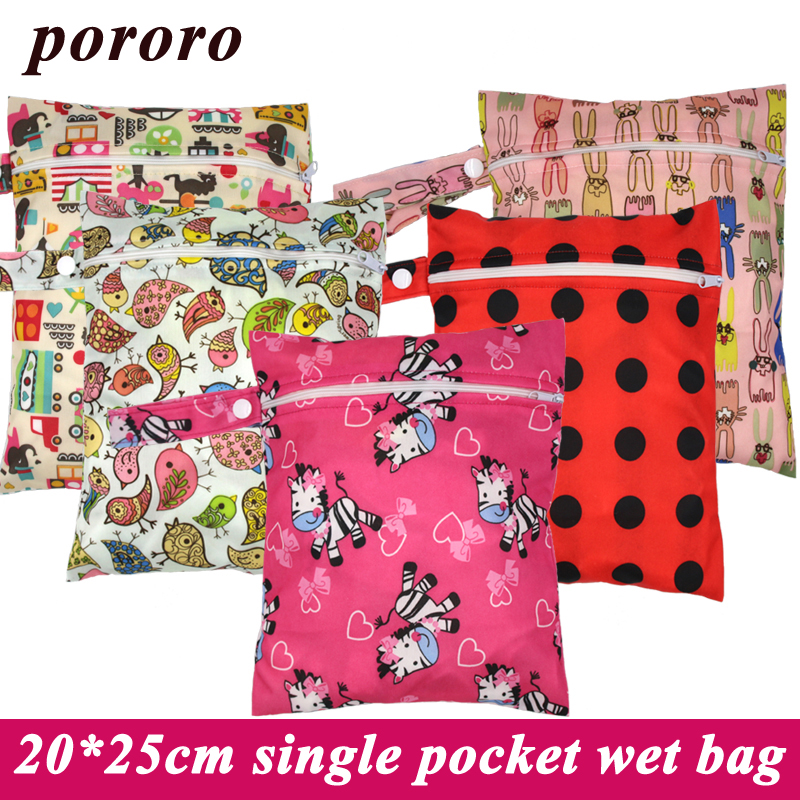 Pororo 20*25CM Single Pocket Baby Wet Bag Fashion Prints Diaper Bag Waterproof Reusable Baby Nappy Bags Handle Wetbags Wholesale pororo