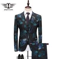Plyesxale Floral Men Suit 2018 Slim Fit 3 Piece Prom Suits Brand Mens Wedding Suits For Beach Wedding Jacket Pants Vest Q492