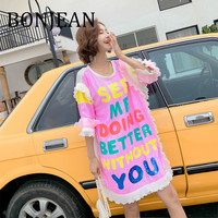 BONJEAN 2019 Summer Clothing Short Sleeve Pink T Shirt with Sequin Women's Loose Tops and Tees Letters Print Long Shirt BJ1400