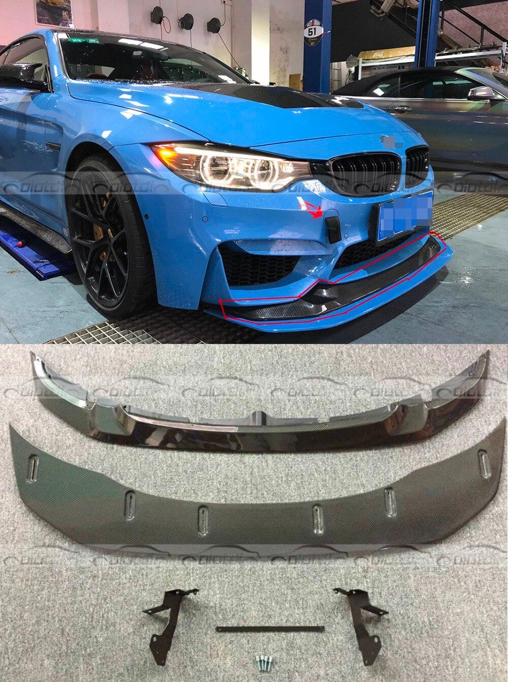 F80 F82 GTS Style Car Styling Reale In Fibra di Carbonio Labbro Anteriore e Paraurti Spoiler Fit Per BMW F80 M3 F82 m4 2013 + 2 pz