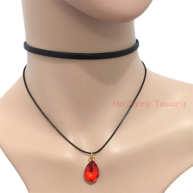 New Design Wax Line Leather Rope Necklace White or Red Single Rhinestone  Crystal Pendant Women Jewelry Henna Gothic Punk Chocker 90eb11821ee0