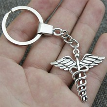 Antique Bronze Silver 40x40mm Caduceus Medical Symbol Keychain New Fashion Handmade Metal Key Ring Party Gift