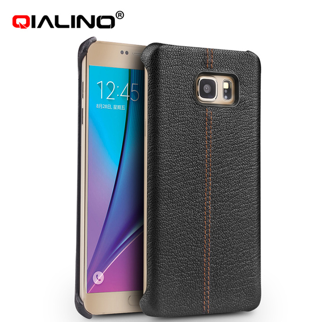 timeless design a5e21 a90e5 US $21.24 17% OFF|Original Leather Case for Samsung Note 5 N920 Case  QIALINO Genuine Calfskin Leather Back Cover Case for Galaxy Note5 N 920-in  Flip ...
