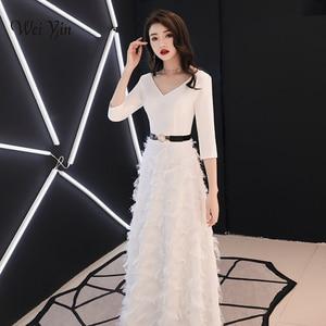 Image 1 - Weiyin לבן ארוך שרוולים ללא משענת אונליין V צוואר רוכסן תחרה שמלות מפלגה אורך רצפת שמלות ערב שמלות WY1337