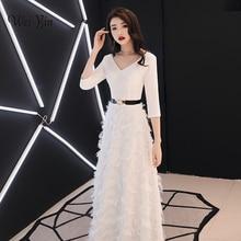 Weiyin białe długie rękawy Backless line dekolt w serek Zipper koronkowe sukienki sukienki długość podłogi suknie wieczorowe WY1337