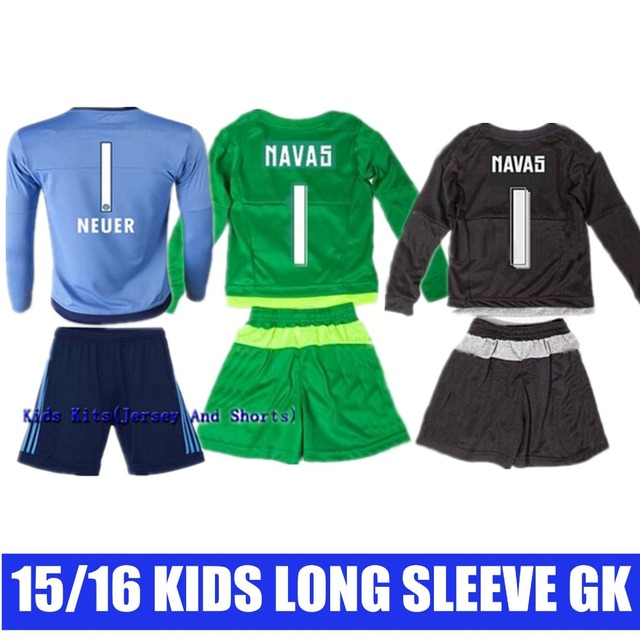 30b28d7ad46 Youth Kids 2015 2016 Long Sleeve blue1 Manuel Neuer Keylor Navas Casilla  Soccer Jersey Goalkeeper GK Bundesliga Torwart Shirt