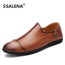 Men Soft Leather Fashion Shoes Male Casual Flats Breathable Slip On Boat Shoes Summer Non-Slip Moccasins Shoes AA11554