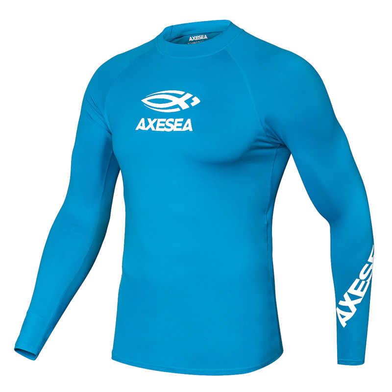 AXESEA ملابس السباحة الرجال طويلة الأكمام Rashguard الشمس حماية ملابس السباحة UV الصلبة تصفح قميص أعلى UPF50 + طفح الحرس لباس سباحة