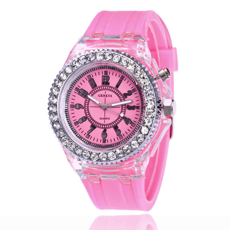 eb03d151a8f4c ... Unisex mens women diamond crystal geneva 7 colors led light watch  silicone jelly candy fashion flash