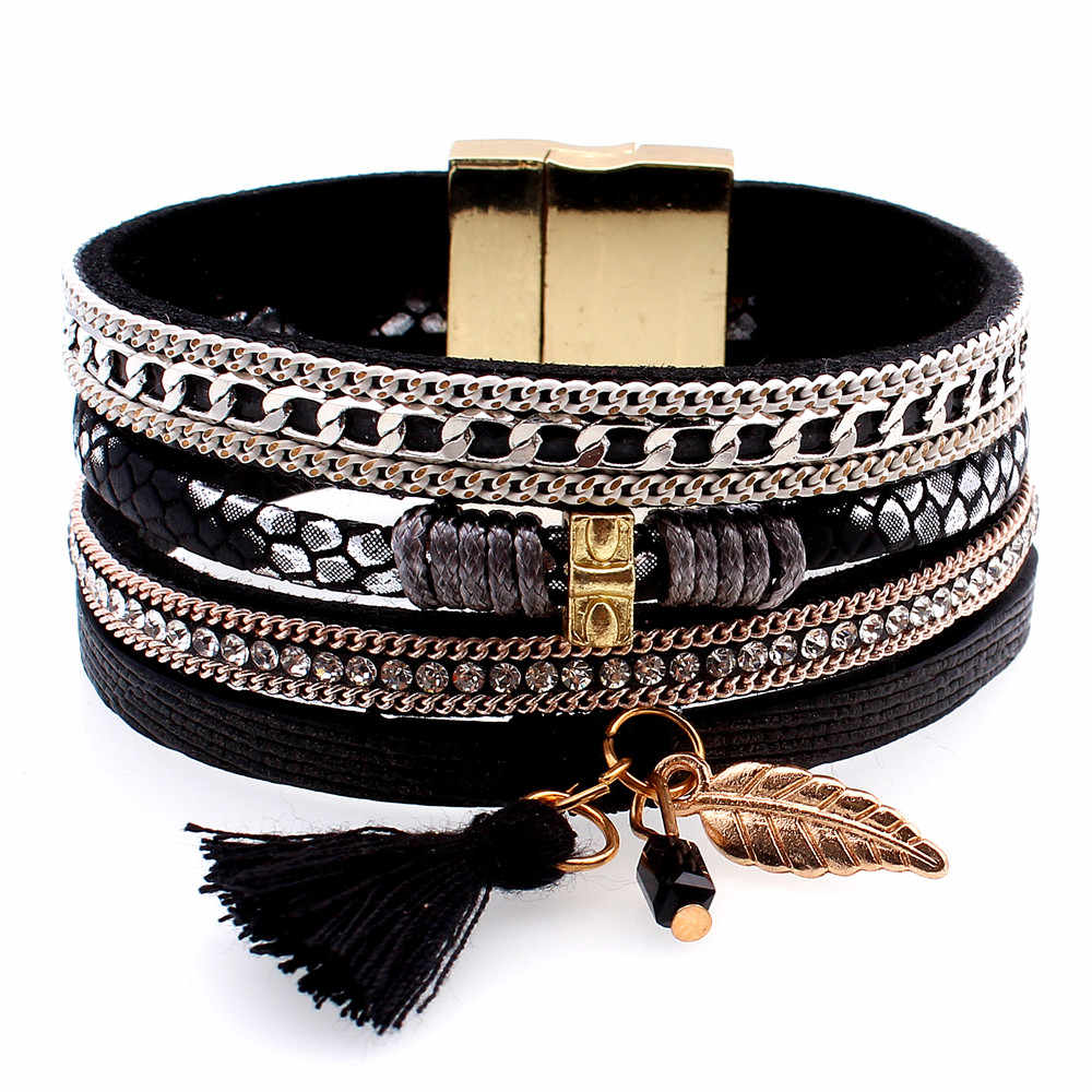 Fashion Alloy Feather Leaves Wide Magnetic Leather bracelets & bangles Multilayer Gold Chain Bracelets Jewelry for Women Men New
