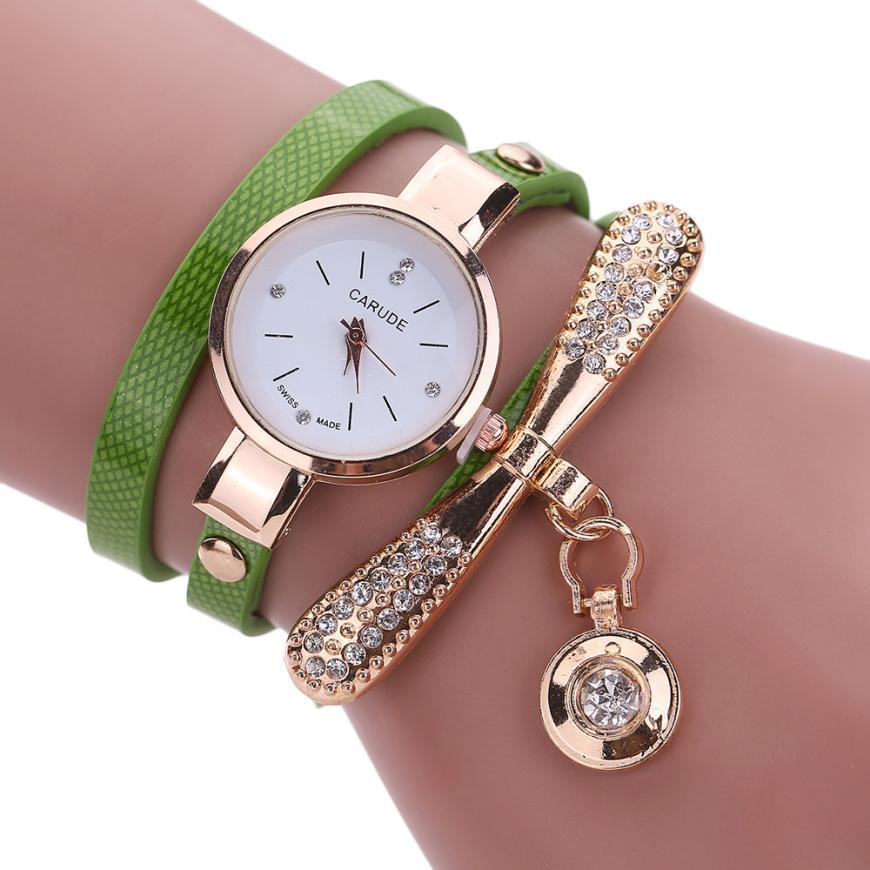 2017. gada jaunizveidots modes augstas kvalitātes populāru sieviešu ādas rhinestone analogs kvarca rokas pulkstenis dāvanai 324