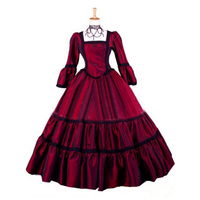 Customized 2018 Wine Red Square Collar Long Sleeve Stage Ball Gowns Halloween Classic Gothic Victorian Dance Dress Costumes