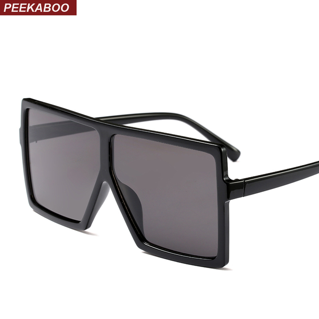 37d418da68de Peekaboo cheap oversized sunglasses women square flat top white black big  ladies sun glasses female 2018 uv400